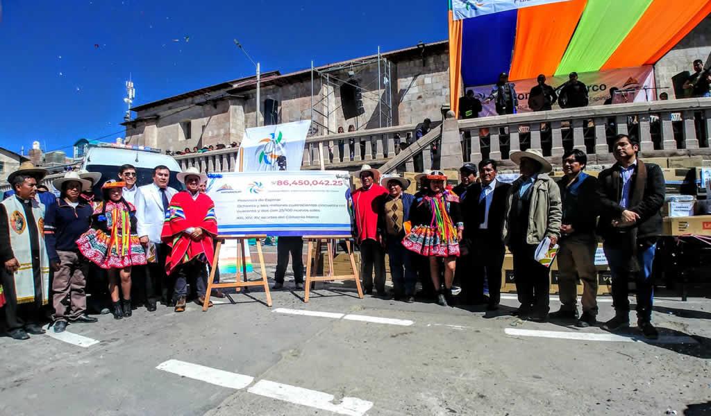 Cía. Minera Antapaccay entrega más de 86 millones de soles para el desarrollo de Espinar