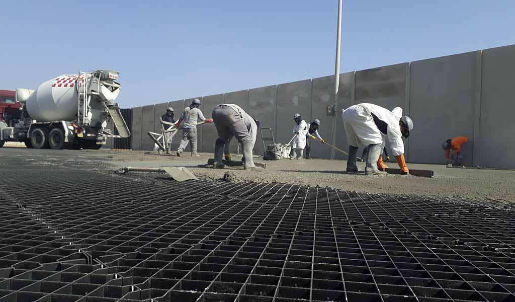 Sistema Diamond Grid: implementación de losas adoquinadas optimizadas in situ en sectores portuarios